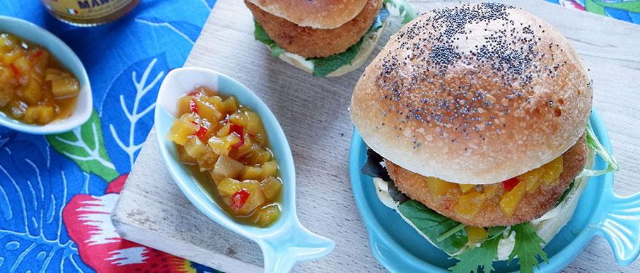 Fish burger di merluzzo con chutney di mango
