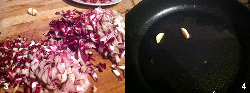 La preparazione della ricetta tagliatelle speck e radicchio