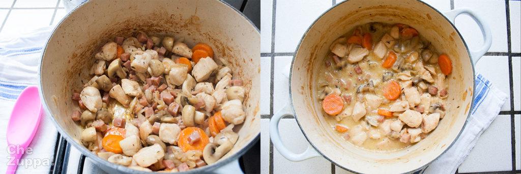 Ricetta chicken ham and mushroom pie