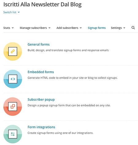 Guida newsletter mailchimp, creare form iscrizione
