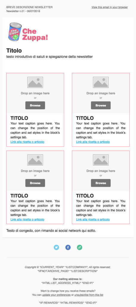 esempio di template per newsletter con Mailchimp