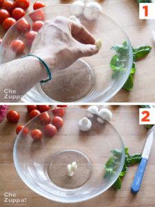 preparazione della ricetta Insalata di farro alla crudaiola