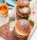 veg burger di melanzane con composta di zucca e cannella