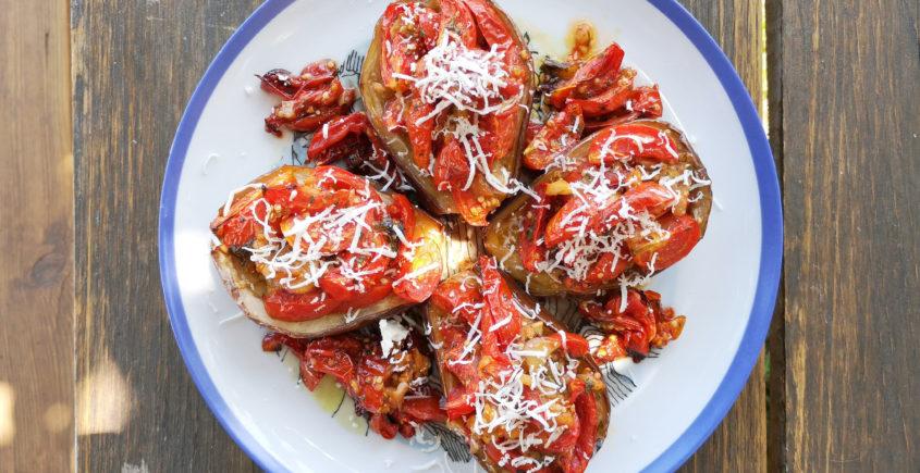 melanzane a barchetta cucinate in cilento