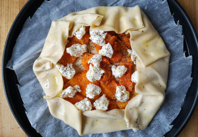 Torta salata al microonde con zucca e squacquerone