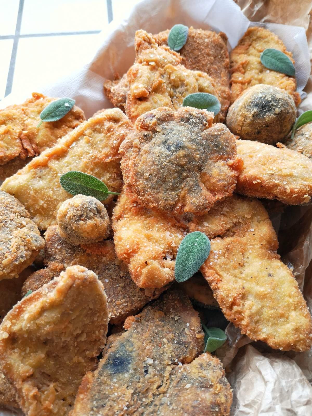 mazze di tamburo fritte - funghi fritti di chezuppa