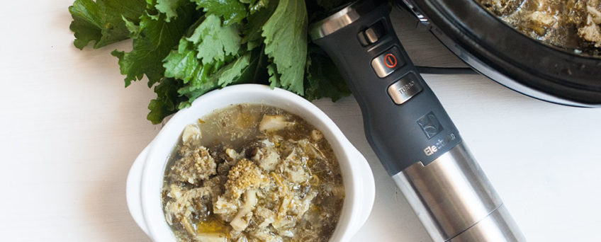 Ricetta della zuppa di verdure verdi al profumo di alici cotta con Slowcooker Electrolux
